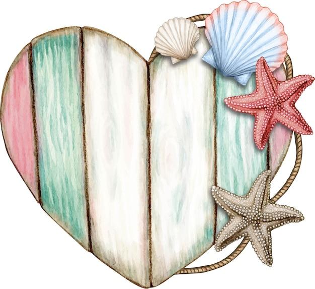 Placa de madeira náutica em aquarela