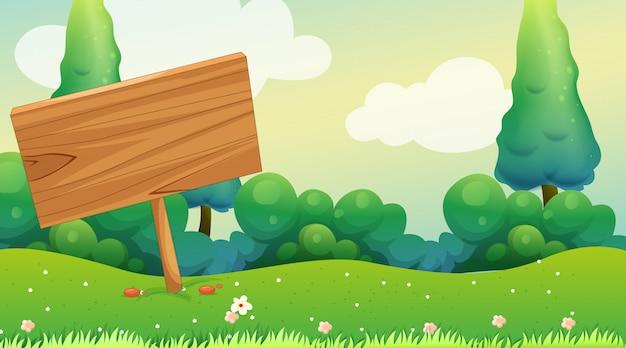 Placa de madeira no jardim