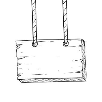Placa de madeira pendurada com estilo esboçado ou doodle