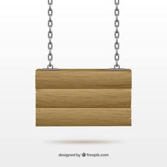 Placa de madeira pendurado em uma corrente