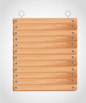 Placa de madeira retangular com ilhós para pendurar