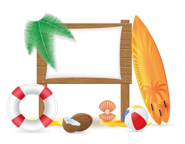 Placa de madeira sinal com ilustração em vetor elementos praia