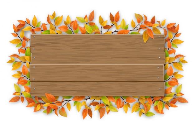 Placa de madeira vazia com galho de árvore colorida de outono