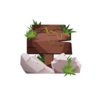 Placa de madeira vazia com galhos de hera e pisando em pedras como um banner para um jogo