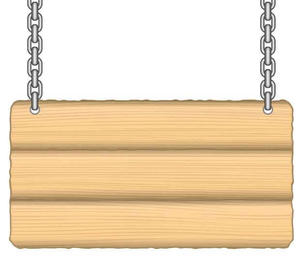 Placa de madeira velha na corrente, ilustração
