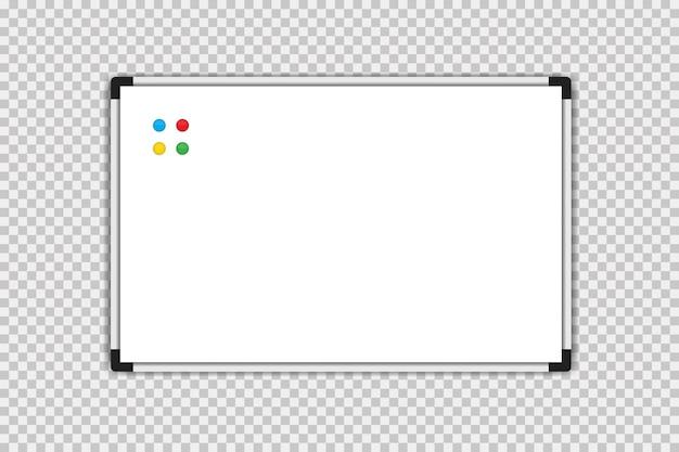 Placa de marcação. quadro branco. placa de marcador de vetor branco vazia isolada
