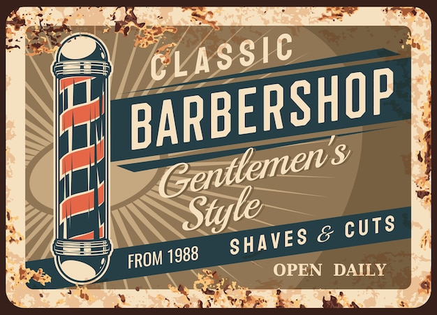 Placa de metal da barbearia ou cartazes enferrujados