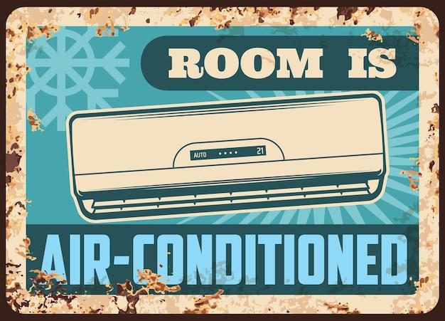 Placa de metal da sala com ar condicionado