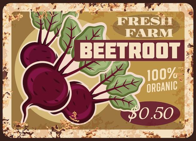 Placa de metal de beterraba retro poster fazenda preço de alimentos