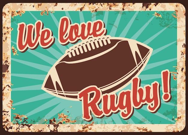 Placa de metal de rugby enferrujada, bola de futebol americano