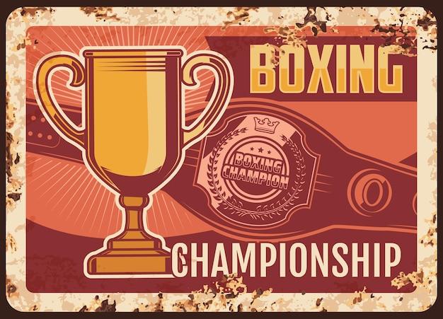 Placa de metal do campeonato de boxe