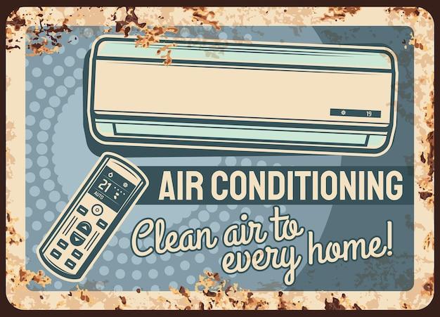 Placa de metal enferrujada de ar condicionado