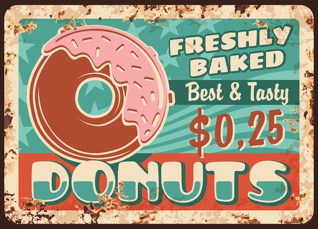 Placa de metal enferrujada de donuts