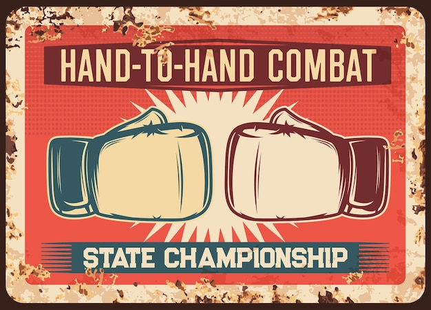 Placa de metal enferrujada de luta de boxe combate campeonato