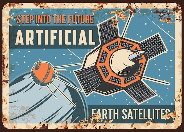 Placa de metal enferrujada de satélites artificiais da terra