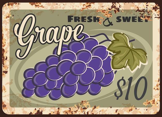 Placa de metal enferrujada de uva