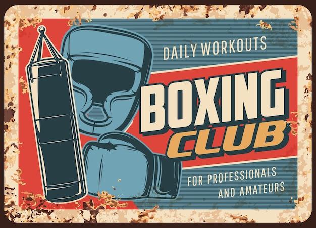 Placa de metal enferrujada do clube da luta de boxe Vetor Premium