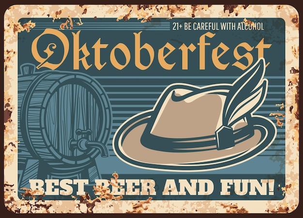 Placa de metal enferrujada do festival da cerveja oktoberfest