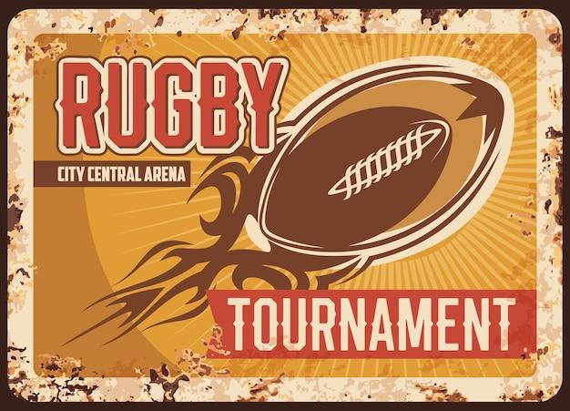 Placa de metal enferrujada do torneio de rugby