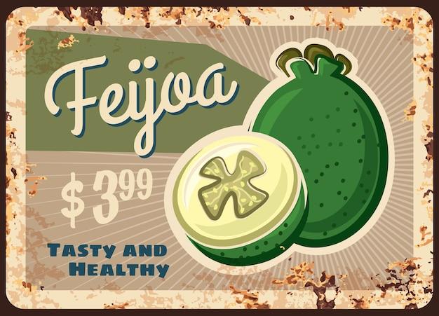 Placa de metal enferrujada feijoa, placa de lata de ferrugem vintage com frutas exóticas doces maduras, etiqueta de preço no varejo.