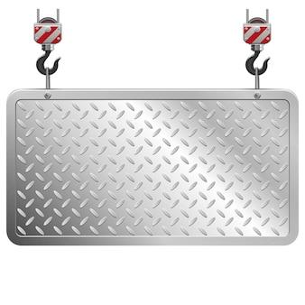 Placa de metal isolada em fundo branco