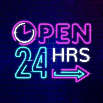 Placa de néon 'aberto 24 horas'