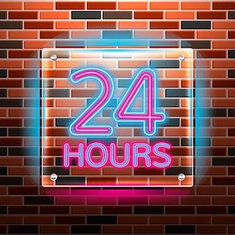Placa de néon 'aberto vinte e quatro horas'