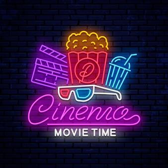 Placa de néon brilhante de cinema