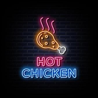 Placa de néon com o logotipo do hot chicken