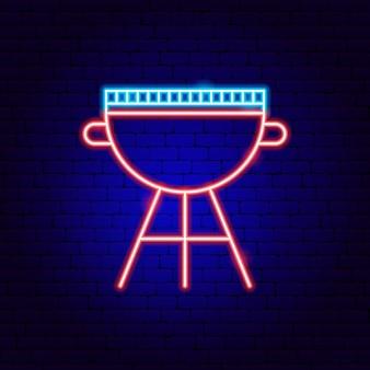 Placa de néon da churrasqueira. ilustração em vetor de promoção de churrasco.