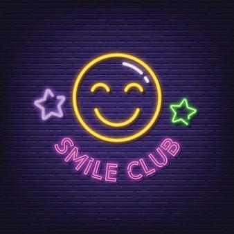 Placa de néon de clube de sorriso