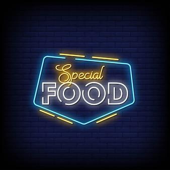 Placa de néon de comida especial na parede de tijolo