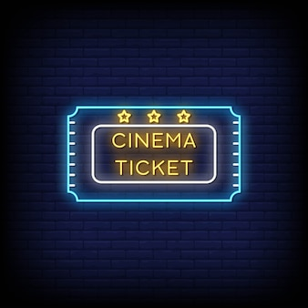 Placa de néon de ingresso de cinema na parede de tijolo