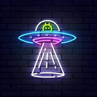 Placa de néon de nave espacial alienígena