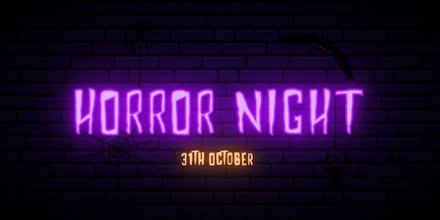Placa de néon de noite de horror.