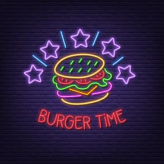 Placa de néon de tempo de hambúrguer