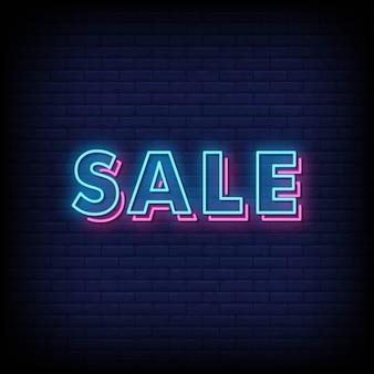 Placa de néon de venda