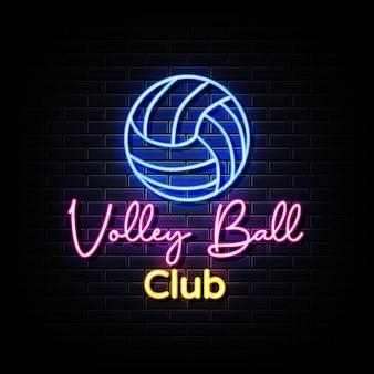 Placa de néon do clube de voleibol na parede preta