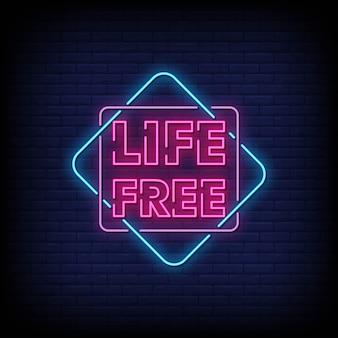 Placa de néon livre de vida na parede de tijolo