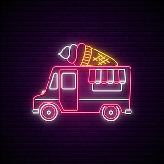 Placa de néon para caminhão de sorvete