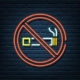 Placa de néon proibido fumar