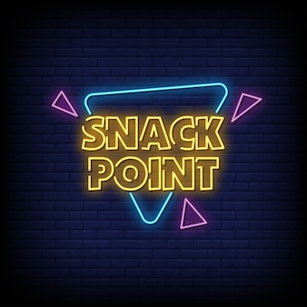 Placa de néon snack point na parede de tijolo