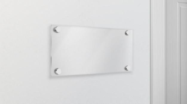 Placa de nome de vidro vazio 3d realista vector
