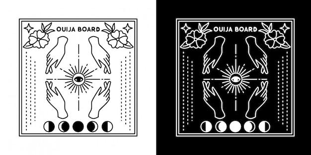 Placa de ouija com projeto de monoline da lua de quatro mãos