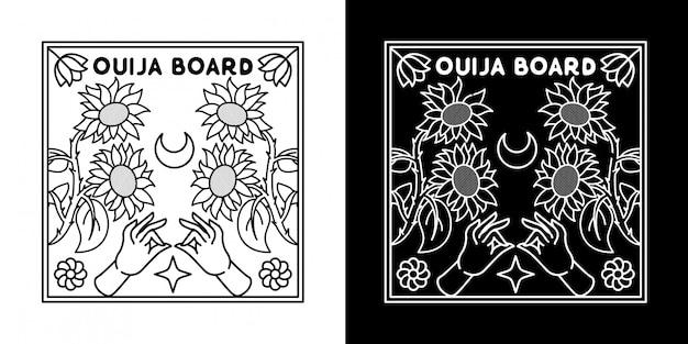 Placa de ouija com projeto de monoline do girassol