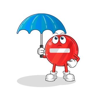 Placa de parada segurando uma ilustração de guarda-chuva