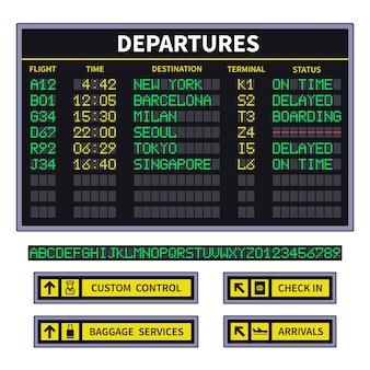 Placa de partida. anúncio da placa do aeroporto