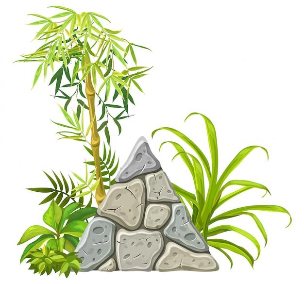 Placa de pedra com galhos de bambu e folhas.