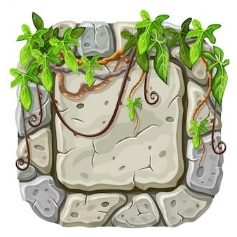 Placa de pedra com galhos e folhas de liana.