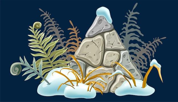 Placa de pedra com montes de neve, grama, samambaia.